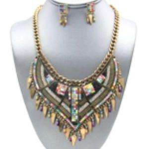 Deco Beaded Mosaic Bib Necklace Set